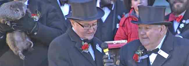 Punxsutawney Phil looks on as two of his inner circle voices his prediction.