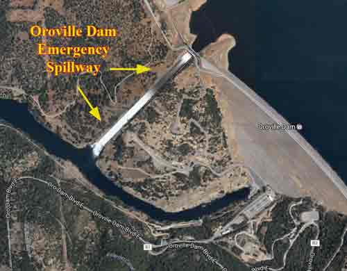 The Emergency Spillway of the Oroville Dam is precariously close to collapse. Image-Google Maps