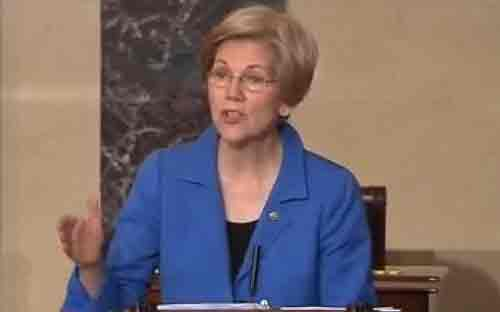 Elizabeth Warren (D-Mass) was silenced midway through her speech opposing AG nominee Sen. Jeff Sessions. Image C-SPAN screengrab