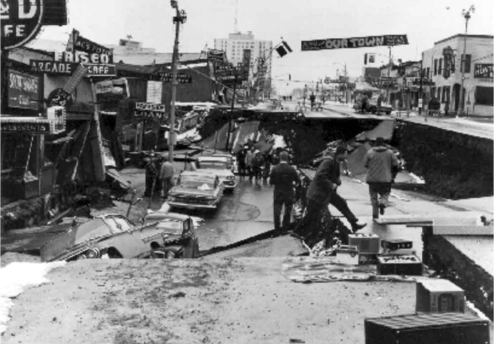 Collapse of Fourth Avenue near C Street. Photo - Earth Science Photographs from the U.S. Geological Survey Library, by Joseph K. McGregor and Carl Abston.