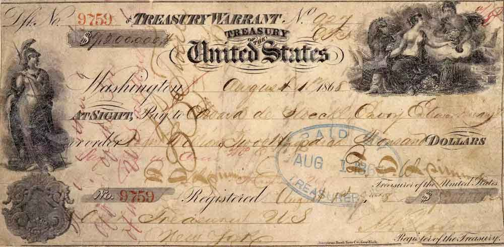 Treasury Warrant in the Amount of $7.2 Million for the Purchase of Alaska. Image-Public Domain