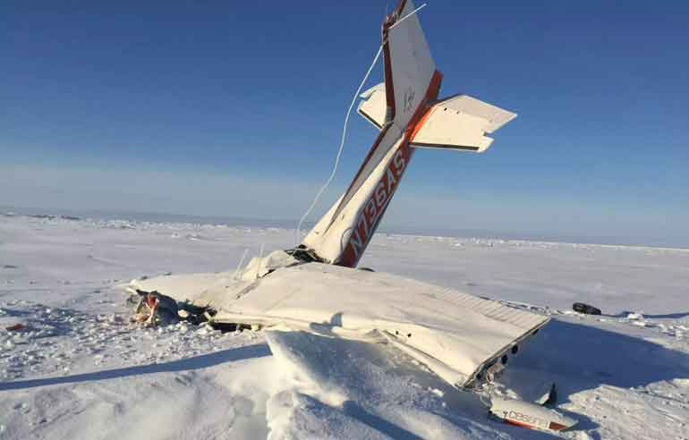 Thomas GZrainger's Cessna 172 was found crashed on the sea ice 10 miles east of Nome. Image-AST
