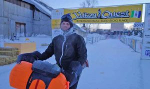 Jeff Oatley arrives in Fairbanks from Skagway on Feb. 16, 2017. He was halfway to Nome on a 1,818-mile bike ride on snowmachine trails. Photo by Ned Rozell.