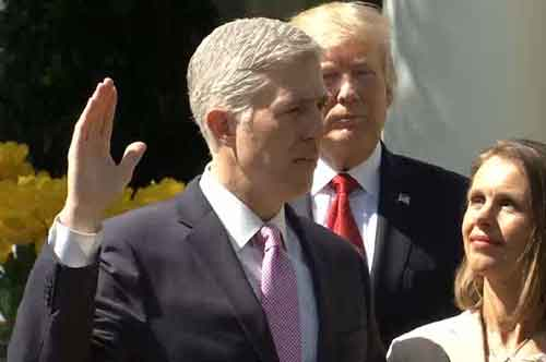 Neil Gorsuch being sworn in as the 113th Supreme Court Justice on Monday. Image-CSPAN Screenshot