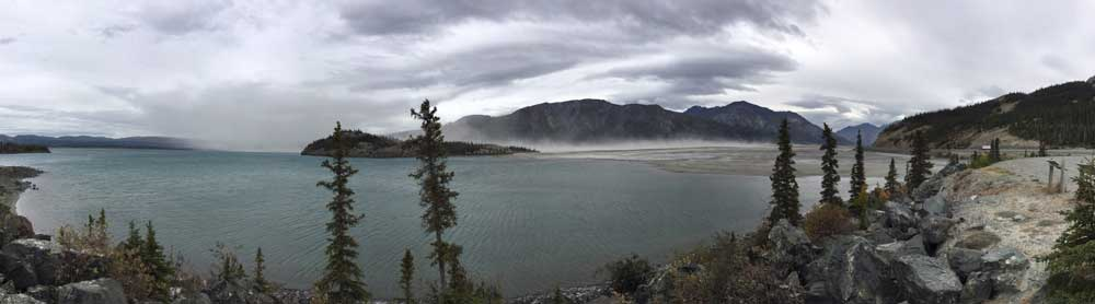 Less input from the Slims River has lowered the water level of Kluane Lake, the largest lake in the Yukon, exposing sediments and creating dust storms.Jim Best/University of Illinois