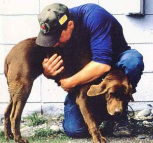 Ned Rozell and his dog Jane in 1997.