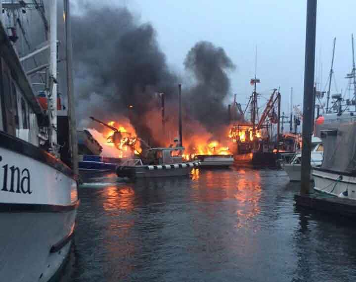 Fire broke out burning three commercial fishing boats in Craig early Sunday morning. Image Bobbi Leighty via Capital City Fire Rescue FB page.