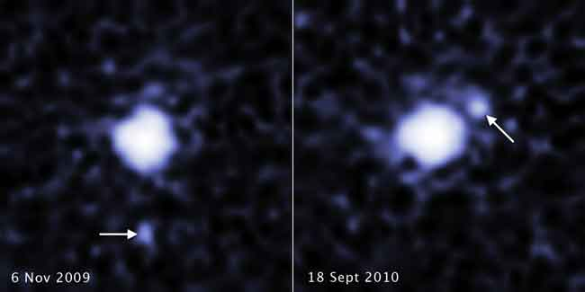 Hubble spots a moon around the dwarf planet 2007 OR10. These two images, taken a year apart, reveal a moon orbiting the dwarf planet 2007 OR10. Each image, taken by the Hubble Space Telescope's Wide Field Camera 3, shows the companion in a different orbital position around its parent body. 2007 OR10 is the third-largest known dwarf planet, behind Pluto and Eris, and the largest unnamed world in the solar system. The pair is located in the Kuiper Belt, a realm of icy debris left over from the solar system's formation. Credits: NASA, ESA, C. Kiss (Konkoly Observatory), and J. Stansberry (STScI)