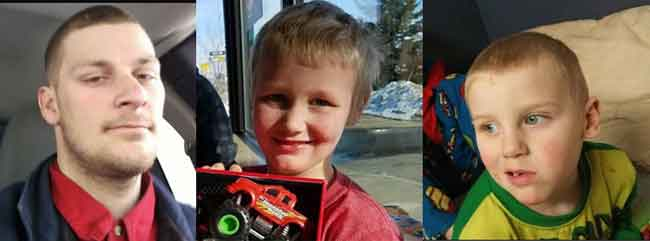 "Troopers are seeking information on the whereabouts of Johnathon Eyre and his two sons, Johnathon ""LJ"" Eyre, age 7 and Jaxson Eyre, age 4. Images-AST"