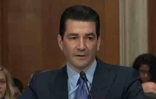 FDA Commissioner Scott Gottlieb testifying at his Senate confirmation hearing. Image C-SPAN