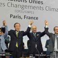 Secretary-General Ban Ki-moon (second left), UNFCCC's Christiana Figueres (left), French Foreign Minister Laurent Fabius and President of the UN Climate Change Conference in Paris (COP21), and President François Hollande of France (right), celebrate historic adoption of Paris Agreement. Photo: UNFCCC
