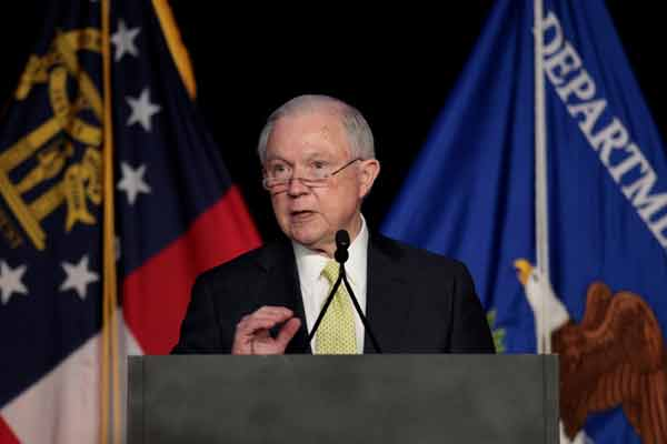 U.S. Attorney General Jeff Sessions addresses the National Law Enforcement Conference in Atlanta. Image-Reuters/ Chris Aluka Berry
