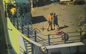 A Coast Guard Air Station Kodiak MH-60 Jayhawk helicopter crew medevacs a 22-year-old man with a possible broken leg from the motor vessel Coastal Progress. Image-USCG