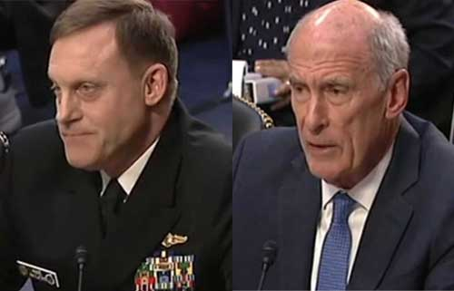 National Security Agency head Michael Rogers (l) and National Intelligence Dan Coats(r) spoke to the Senate Intelligence Committee.