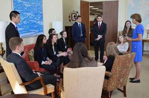 Alaska Senator Lisa Murkowski speaking with her new interns. Image-Office of Senator Murkowski