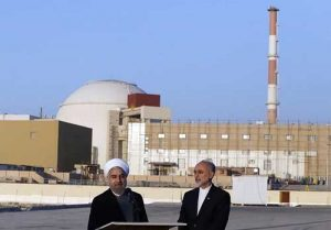 Iranian President Hassan Rouhani and Head of the Atomic Energy Organization of Iran (AEOI) Ali Akbar Salehi in Bushehr Nuclear Plant. Image-Hossein Heidarpour | Tasnim News Agency
