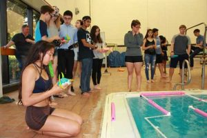Students testing their robotic fish models for speed and agility. Image-Ansep