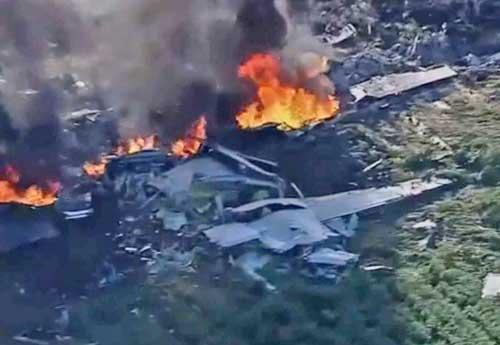 KC-130T crash site north of Jackson, Mississippi. Image-CNN video screengrab