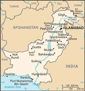 Map of Pakistan. Image-CIA