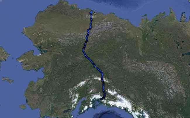 The pathway of Ned Rozell and his dog Cora's 96-day summer walk, across Alaska along the path of the Trans-Alaska Pipeline. Photo by Ned Rozell.