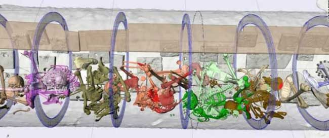 An x-ray reconstruction of the interior of the H.L.Hunley shows the color-coded skeletons of the eight crewmen still at their stations with no broken bones. (Friends of the Hunley)