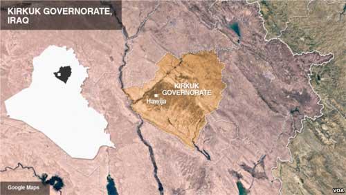 Kirkuk. Image-VOA/Google Maps