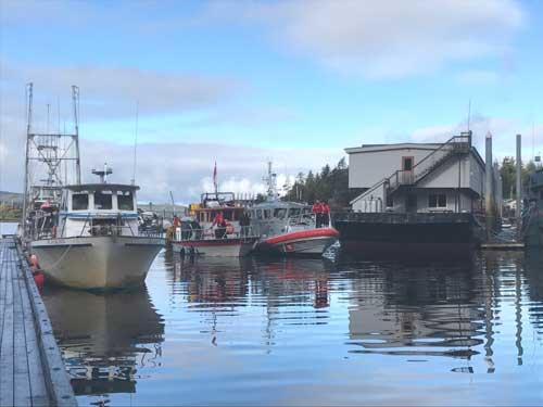 A Coast Guard Station Ketchikan 45-foot Response Boat-Medium crew assists in mooring the 34-foot fishing vessel Nata Ella in Refuge Cove, Ketchikan. Image-USCG