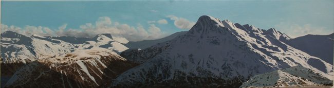 "Photo: Ing'iq (Barometer Mountain), oil on canvas, by Genevieve Opheim, 48 x 12"", 2017. Purchased with support from the Rasmuson Art Acquisition Fund."