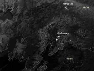 This image of Alaska was taken by the Visible Infrared Imaging Radiometer Suite's (VIIRS) Day-Night Band aboard NOAA's Suomi NPP satellite. (Credit: NOAA NESDIS)