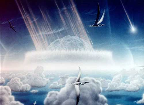 An artist's rendering of the Chicxulub asteroid impact that killed off most of the dinosaurs from 1994. Credit: Donald E. Davis/NASA/JPL.