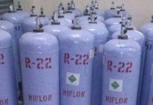 Bottles of R-22 refrigerant.