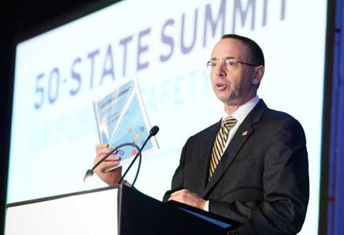 Deputy Attorney General Rod Rosenstein speaking at the 50-state Public Safety Summit. Image-CSG Justice Center/Twitter