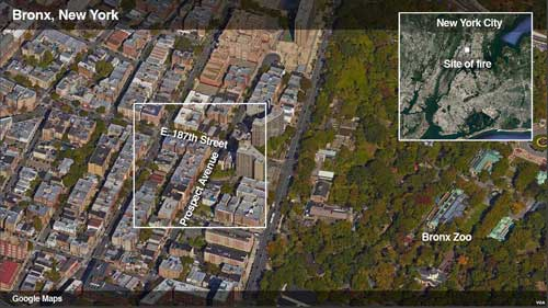 Location of fire in Bronx. Image-Google Maps/VOA