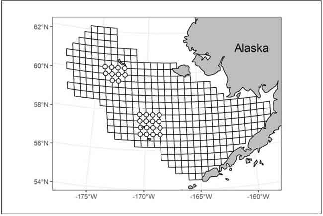 SE Bering Sea Shelf Bottom Trawl Survey Area. Map to be updated as bottom temperatures are collected from survey stations. Image-NOAA