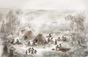 A scientific illustration of the Upward Sun River camp in what is now Interior Alaska. Illustration by Eric S. Carlson in collaboration with Ben A. Potter