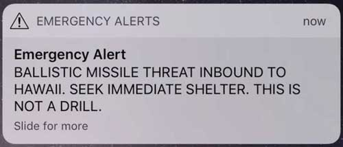 Cell phone message warning Hawaiians of incoming ballistic missile on Saturday morning