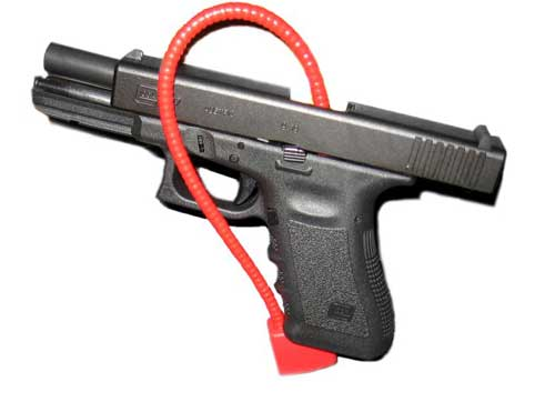 Glock 17 with cable lock. Image-Kenneth Freeman