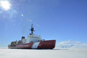 The Coast Guard Cutter Polar Star breaks ice in McMurdo Sound near Antarctica on Saturday, Jan. 13, 2018. U.S. Coast Guard photo by Chief Petty Officer Nick Ameen.