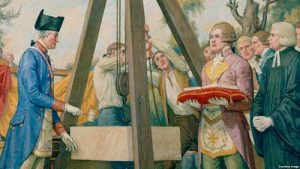 George Washington laying the cornerstone for the US Capitol from a mural by Allyn Cox. (US Government Photo)