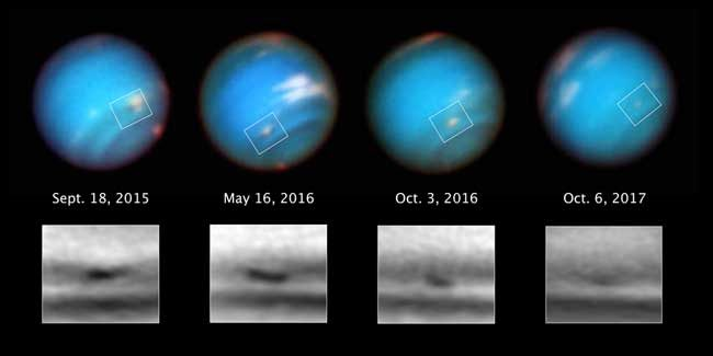 This series of Hubble Space Telescope images taken over 2 years tracks the demise of a giant dark vortex on the planet Neptune. The oval-shaped spot has shrunk from 3,100 miles across its long axis to 2,300 miles across, over the Hubble observation period. Credits: NASA, ESA, and M.H. Wong and A.I. Hsu (UC Berkeley)