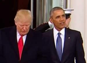 Trump and Obama on inauguration day.