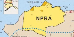 A map of northern Alaska showing the location of the National Petroleum Reserve-Alaska (NPRA).