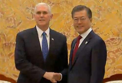 Vice President Pence and South Korean President Moon Jae-in meeting in South Korea. Image-Screengrab