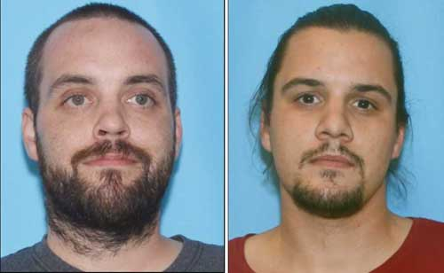 Aarron Settje (L) and Stephen Settje (R) are wanted on robbery and other crimes by APD. Images-APD