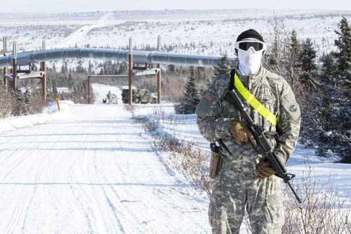 Arctic Eagle 2018 training scenario near Trans-Alaska Pipeline. Image-ANG