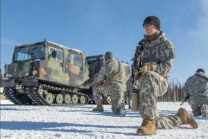 Guardsmen of Charlie Company 1-297th Infantry out of Wyoming participate in cold weather and arctic skills training during Arctic Eagle 2018 at the Donnelly Training Area outside of Fort Greely. (U.S. Army National Guard photo by Spc. Michael Risinger/Released)