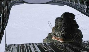 Dumping cargo from C-17 Globemaster III transport several hundred miles north of Alaskan coast. Screengrab Staff Sgt. Balinda O'Neal Dresel video