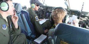 Alaska National Guardsmen in cockpit of C-17 Globemaster III transport. Image-Staff Sgt. Balinda O'Neal Dresel