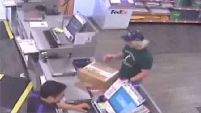 Mark Anthony Conditt delivering packaged explosive devices to FedEx. Image-CCTV