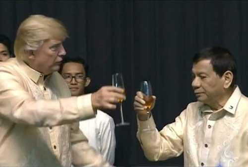 Philippine President Rodrigo Duterte and President Trump during Trump's Philippine visit. Video screengrab
